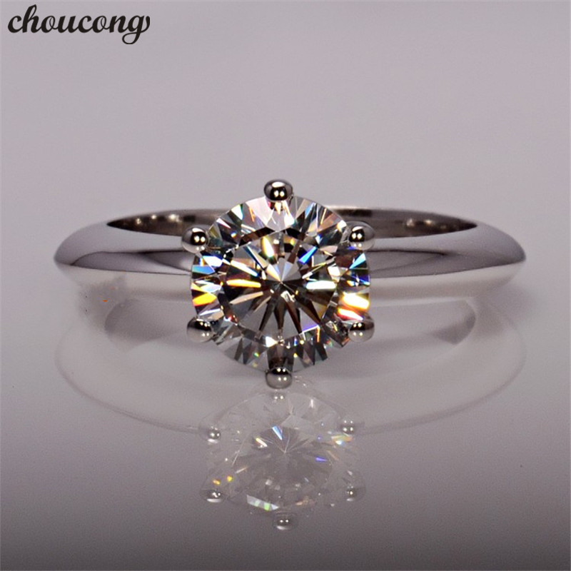 Choucong Female Solitaire 100% Real 925 Sterling Silver Ring 1.5ct AAAAA Zircon Engagement Wedding Band Rings For Women Men Gift