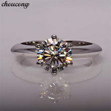Choucong Feminino AAAAA Zircão 1.5ct solitaire Real de 100% 925 sterling silver ring Wedding Band Engagement Anéis Para As Mulheres homens Presente(China)