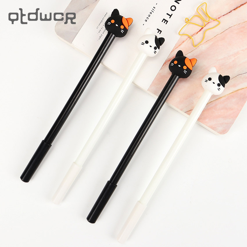 2PCS Kawaii Creative Cute Cat Gel Pen Student Study Water Pen Office School Stationery Supplies Gift for Kids 6pcs lot cute floral garden gel pen kawaii stationery creative gift school supplies student gift rewarding prize 0 38mm