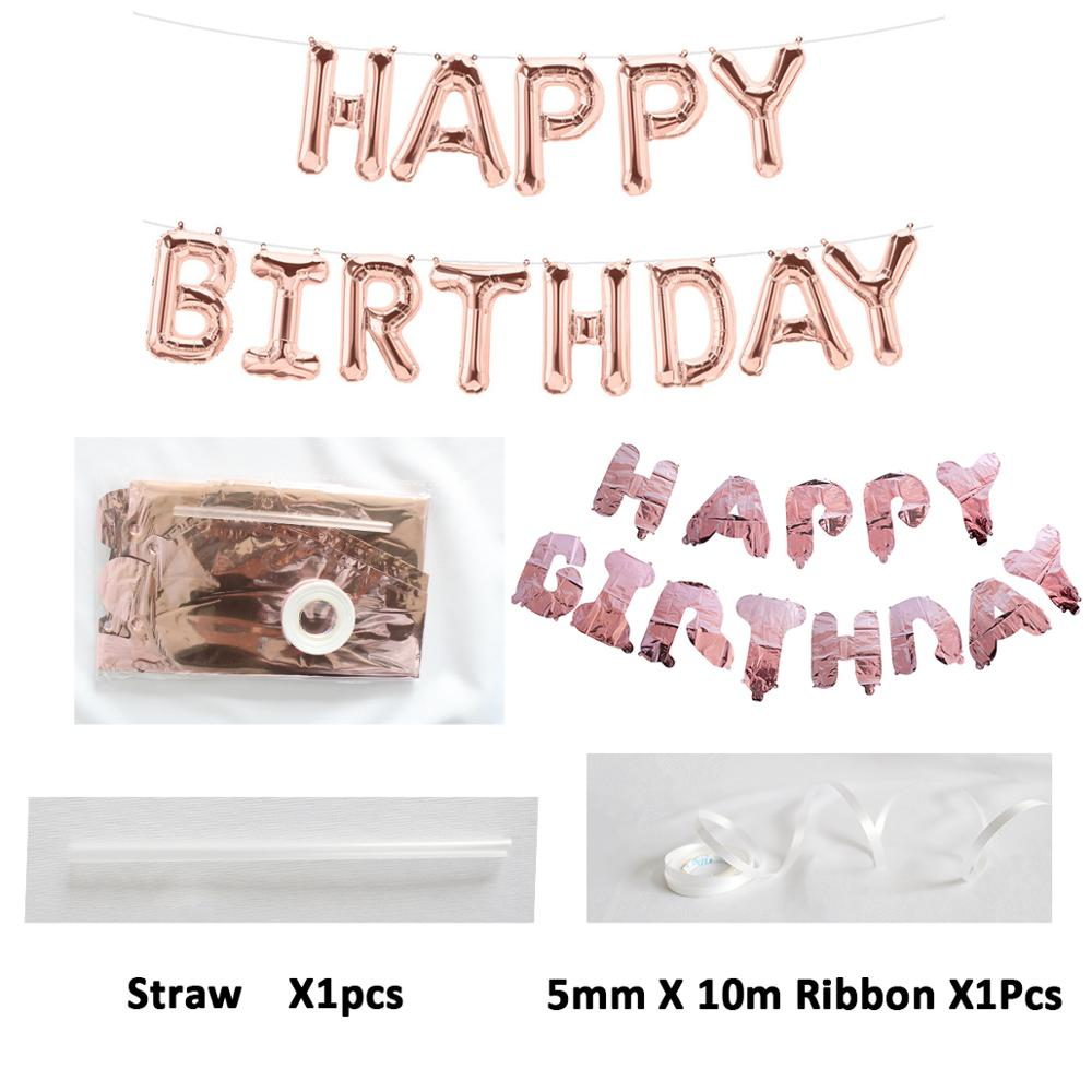 Image 4 - First Happy Birthday Rose Gold Balloon Banner My 1st 1 One Year Party Decorations Kids Baby Boy Girl Adult Garland Supplies Blue-in Banners, Streamers & Confetti from Home & Garden