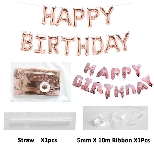 Primero Feliz cumpleaños Globo de oro rosa Banner mi 1st 1 año decoraciones de fiesta de niños bebé niño adulto Garland suministros azul