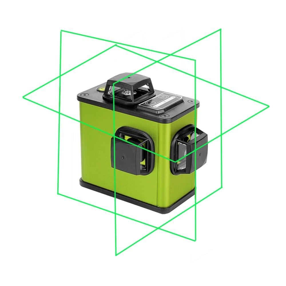 3D 12 Lines Verde/Rosso Laser Batteria Al Litio Livello Self-Leveling 360 Batteria Al Litio Orizzontale E Verticale Croce linea