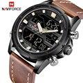 Лидирующий бренд мужские спортивные часы NAVIFORCE Мужские кварцевые аналоговые светодиодный часы мужские кожаные военные водонепроницаемые ...