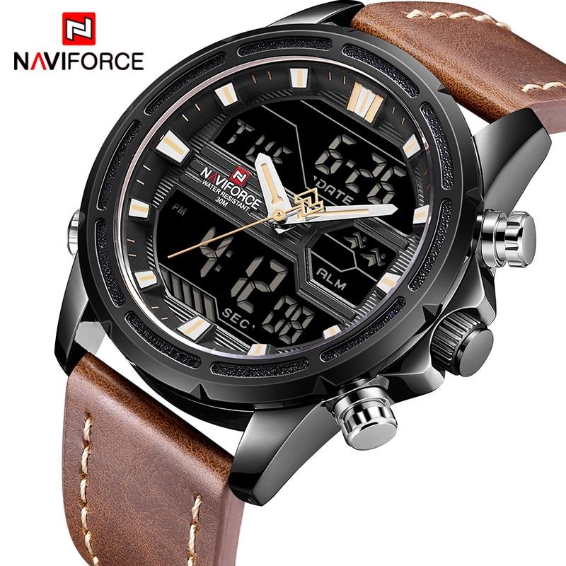 Top Brand Mens Sport Watches NAVIFORCE Men Quartz Analog LED Clock Man Leather Military Waterproof Wrist Watch Relogio Masculino