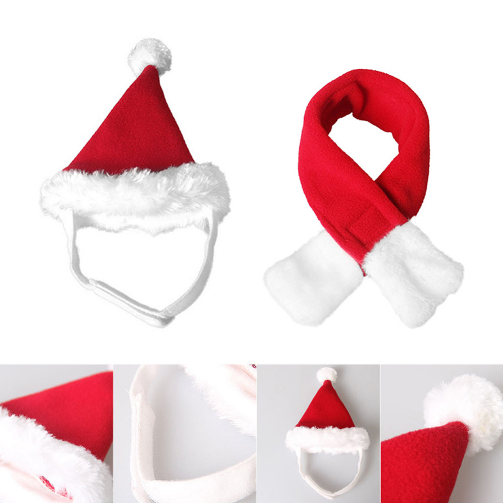 Adjustable Dog Hat Scarf Cat Velvet Santa Claus Apparel Christmas Pet Decor