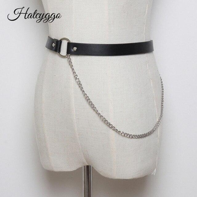 6304ce842a9b HATCYGGO de moda estilo Punk Rock cadena pantalones de las mujeres cinturón  de cintura Jeans hombres