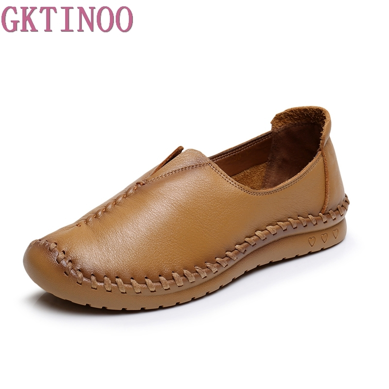 Women Flats Pure Handmade Ladies Shoes Fashion Genuine Leather Soft Loafers Solid Women Casual Flat Shoes women flats 2018 new fashion spring women shoes loafers casual soft flat female comfort solid basic ladies flats ybt702