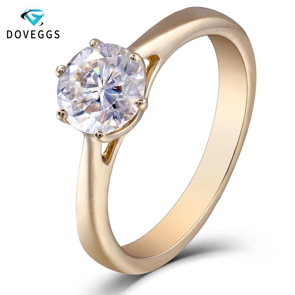 DovEggs 10K oro rosa quilates FGH Color laboratorio creado Moissanite diamante anillos de compromiso para mujeres anillo de solitario-in Anillos from Joyería y accesorios    1