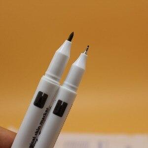 Image 4 - 100Pcs Waterdichte Tattoo Skin Marker Piercing Marker Pen Double Headed Chirurgisch Markers Huid Met Heerser Voor Wenkbrauw Tattoo