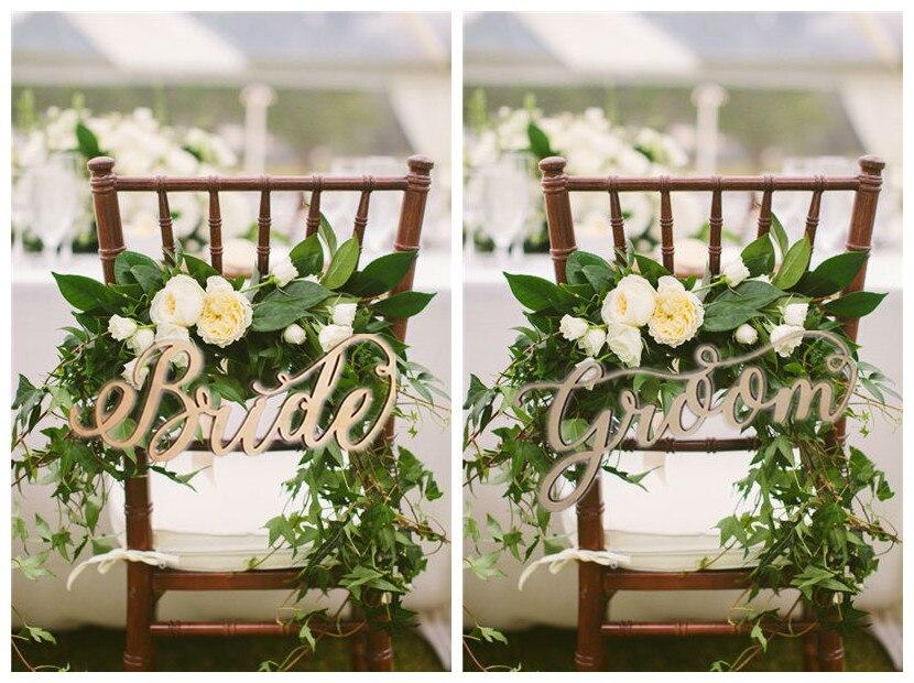 Деревенский Свадебные украшения Сценарий невесты и жениха кресло знаки-Свадебные признаки деревянные буквы
