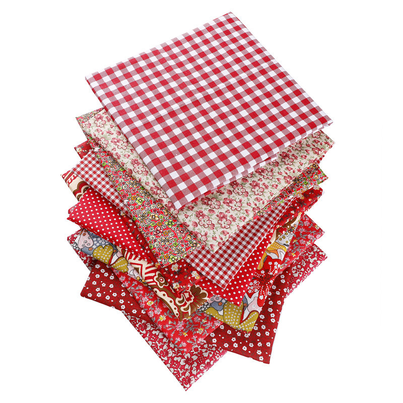 Red Purple 50X50cm 100% Cotton Floral Dot Stripe Plaid Fabric Christmas Doll Patchwork Clothes Sewing Needlework 53126