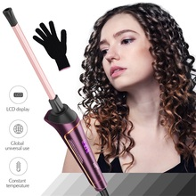 LCD Display 9MM Unisex Curly Hair Curling Iron Small Slim To
