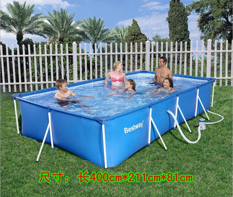 Bestway 56044 rectangular bracket paddling pool large family swimming pool children pool 400 * 211 * 81cm