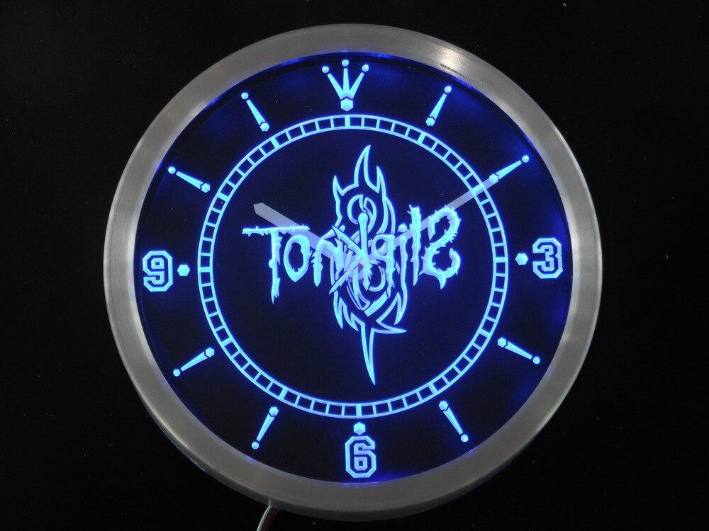 nc0152 Slipknot Band Logo Rock n Roll Neon Sign LED Wall Clock