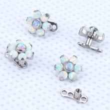 2 pcs/lot G23 titane intérieur fil dermique ancre fleur Top eau opale peau plongeur dermique Piercing Micro cache dans bijoux