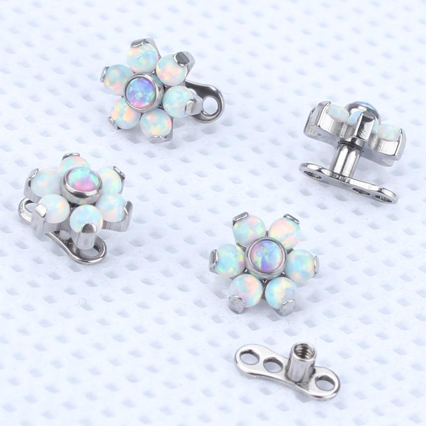 2pcs/lot G23 Titanium Internally Thread Dermal Anchor Flower Top Water Opal Skin Diver Dermal Piercing Micro Hide In Jewelryg23 titaniumdermal anchordermal piercing -