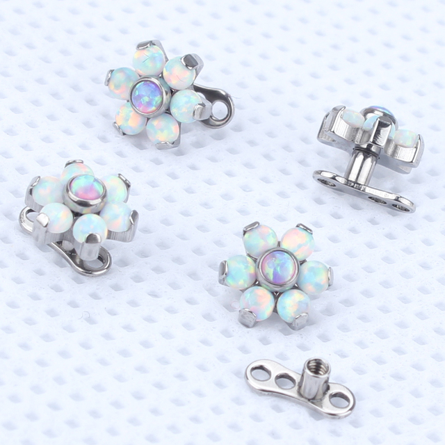 2pcs/lot G23 Titanium Internally Thread Dermal Anchor Flower Top Water Opal Skin Diver Dermal Piercing Micro Hide In Jewelry