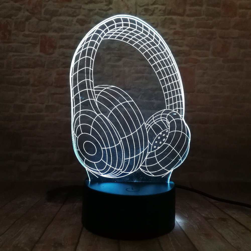Jaunums 3D atdzist 7 krāsu maiņas austiņas LED nakts gaisma bērna - Nakts gaismas - Foto 5