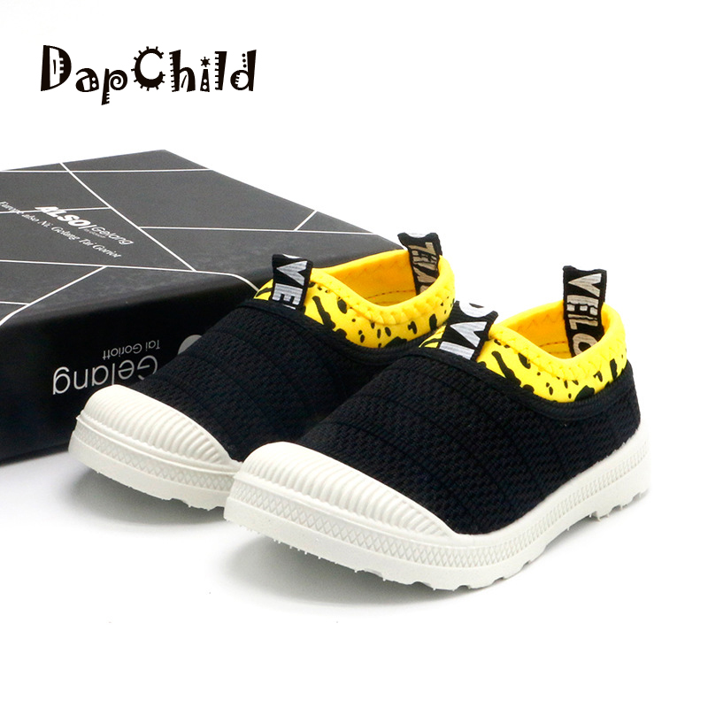 DapChild Children Shoes Girls Boys School Shoes Stitching Color Baby Rubber Footwear Fashion Sports Casual Shoes Yellow Black