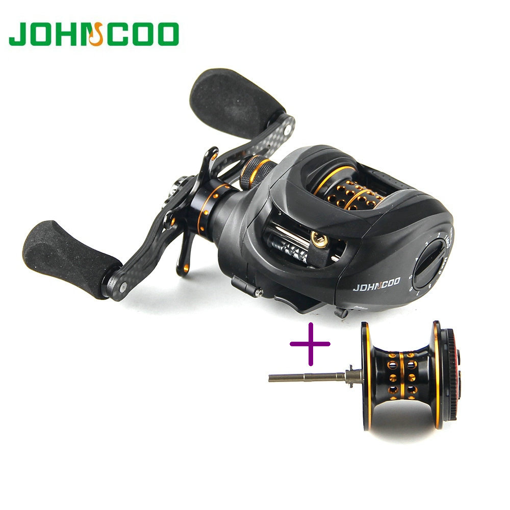 JOHNCOO Carbon Baitcasting Reel 13+1 BB 165g Super Light Casting Reel Bass Fishing Reel With Spare Spool Good for Light lures-in Fishing Reels from Sports & Entertainment    1