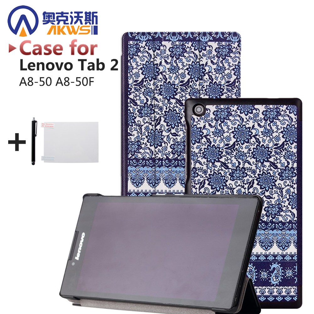 Printed cover leather case for lenovo tab2 A8 quality protective smart cover case cover for lenovo