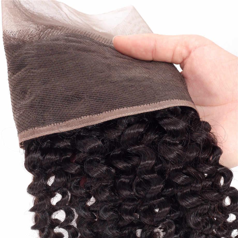 """Pelo brillante 100% Remy brasileño rizado pelo humano encaje cierre Frontal 13*4 con Color natural del pelo del bebé 8 """"-22"""" envío gratis"""