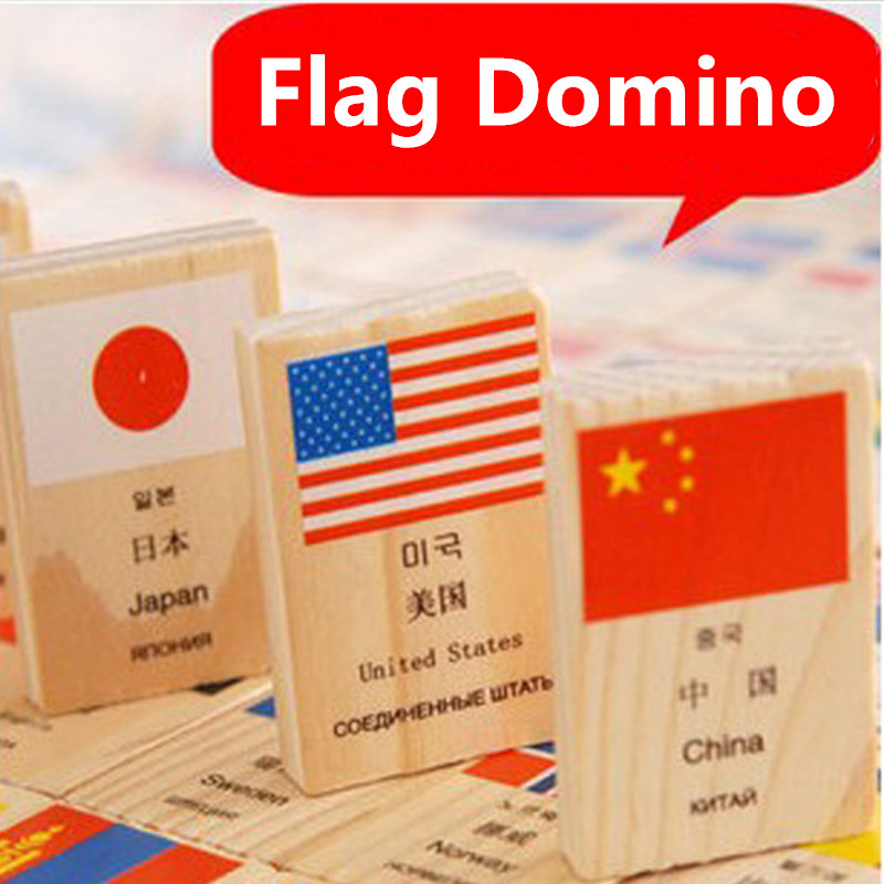 100pcs Flag currency domino wooden Montessori building blocks early childhood educational toys for children free shipping купить