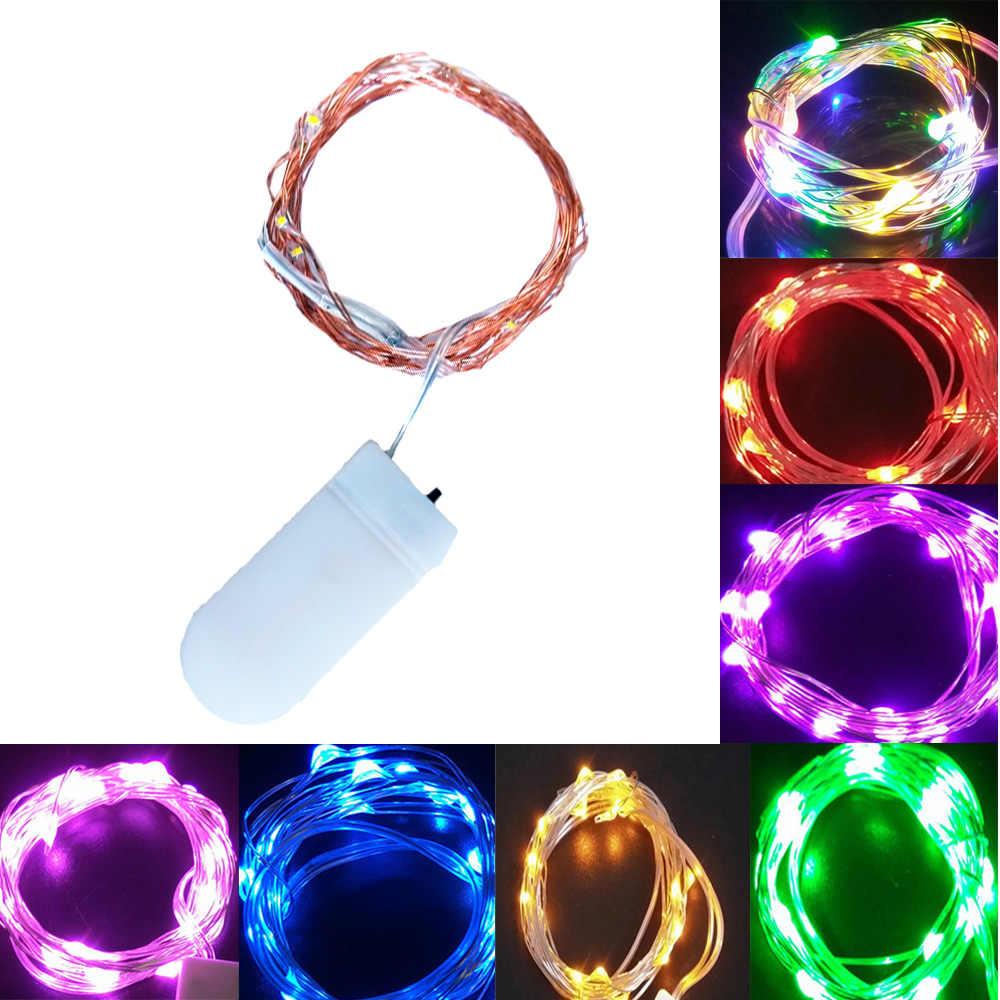 1-5M Lampu Peri CR2032 Baterai LED Mini Lampu Natal Kawat Tembaga String Lampu untuk Pernikahan Natal pesta Garland Indoor
