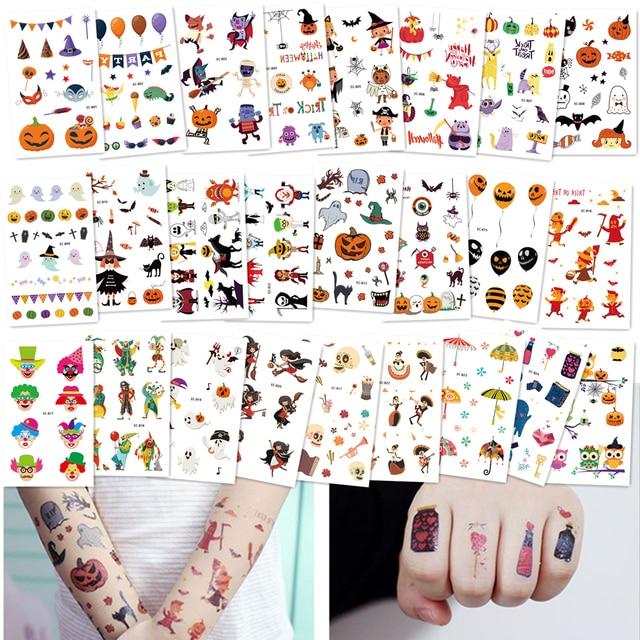 96ea94125 25pcs Cute Clown Owl Temporary Tattoos Ghost/Pumpkin Waterproof Women Fake  Body Art Arm Tattoo Sticker Halloween Kids Hand Tatoo