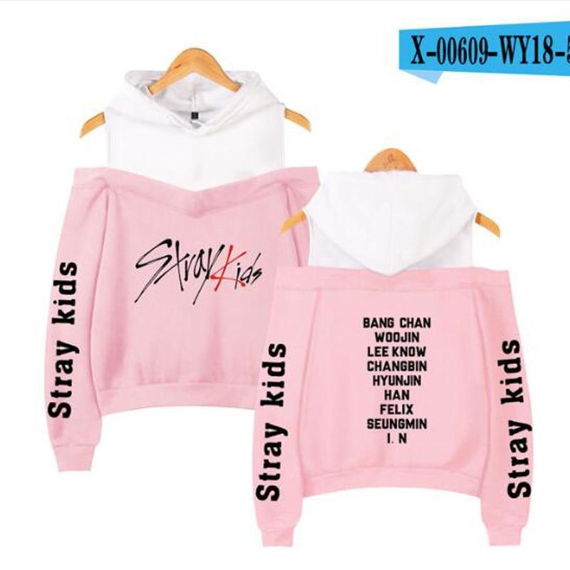 2019 Korean Off Shoulder Stray  kids  KPOP Kids Album Women Hoodies Sweatshirts cotton Long Sleeve Sexy clothes 5