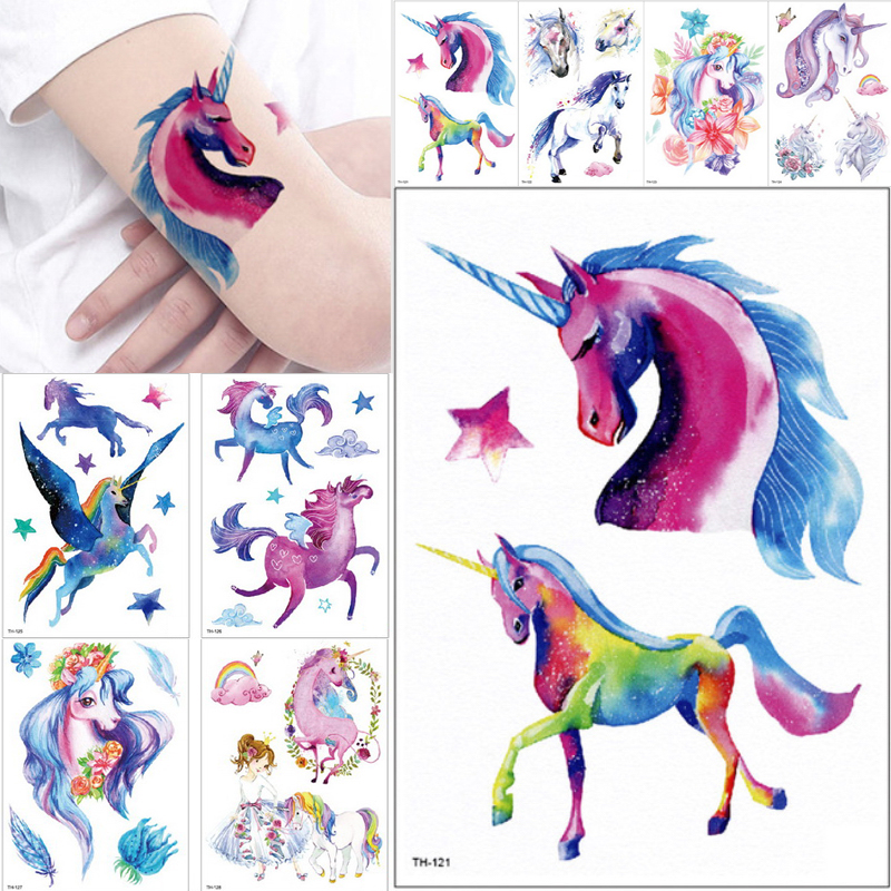 Cartoon Colorful Gradient Unicorn Fairy Tales Temporary Tattoo Sticker Children Kids Waterproof Flash Tattoo Girls Gift Body Art