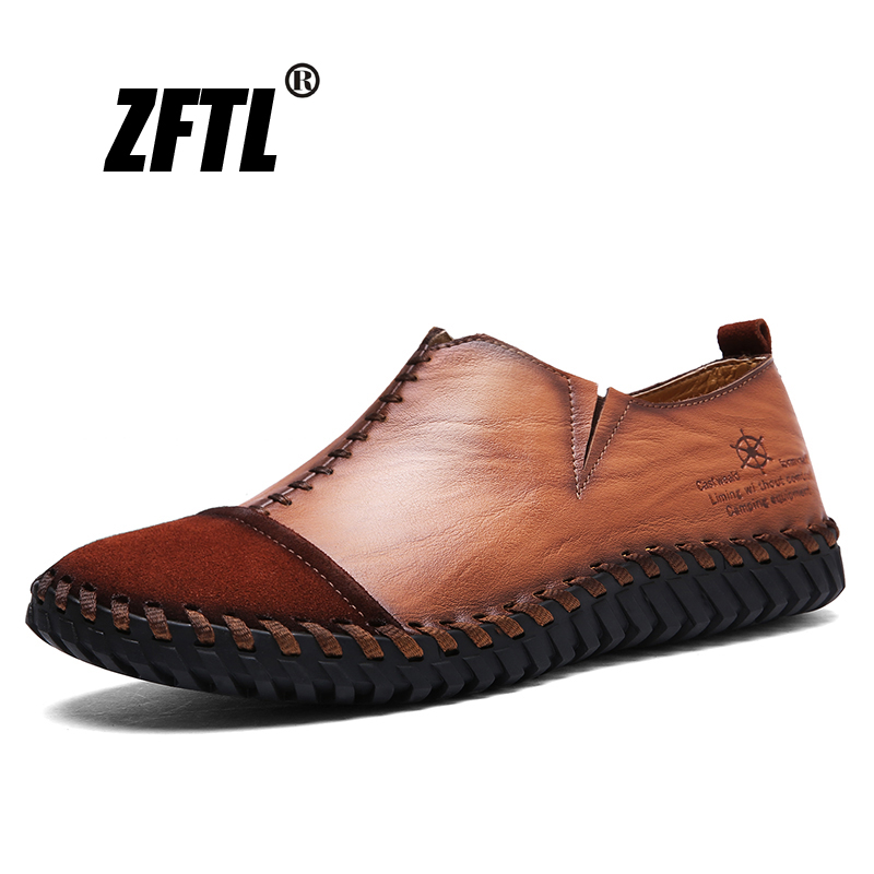 ZFTL New Men Loafers Male Boat Shoes Handmade Genuine Leather Retro Man Casual Business Shoes Men's Leisure Loafers   095