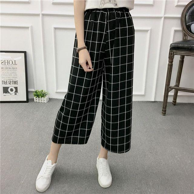 ETOSELL Women New Summer Wide Leg Pants Casual Loose High Elastic Waist Harem Pants Loose Belt Striped Elasticated Trousers 1