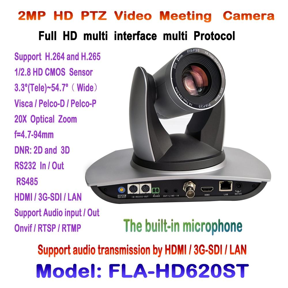 PTZ 20x1080 P 60fps видеоконференции Камера Встроенный аудио устройство с 3G-SDI HDMI и IP потокового ONVIF RTSP rmtp виски pelco
