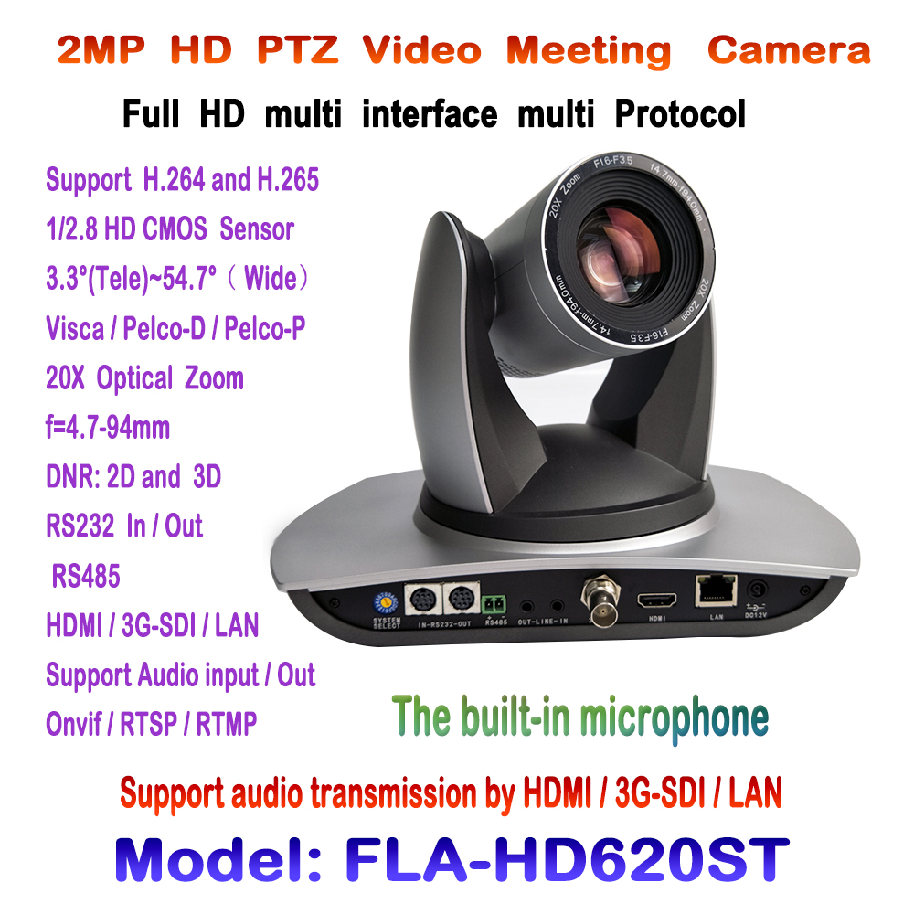 PTZ 20x1080 p 60fps video conferencia cámara incorporada dispositivo de audio con 3G-SDI HDMI y transmisión IP ONVIF RTSP rmtp Visca Pelco