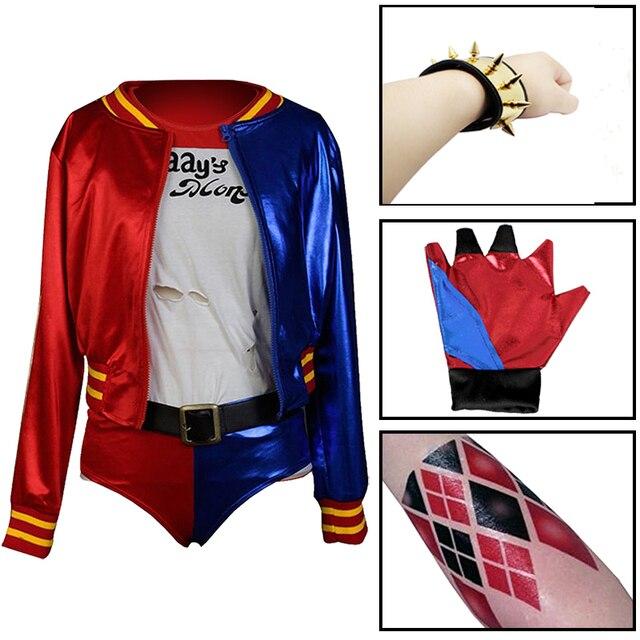 Harley Quinn Cosplay Costumes Jacket+T shirt+Shorts+Belt+Glove+ ...