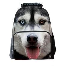 Hot 3D Huskies Dog, Cat Men's Travel Backpack School Bag for Teenagers Men Children Bagpack College Student Bookbag animal face