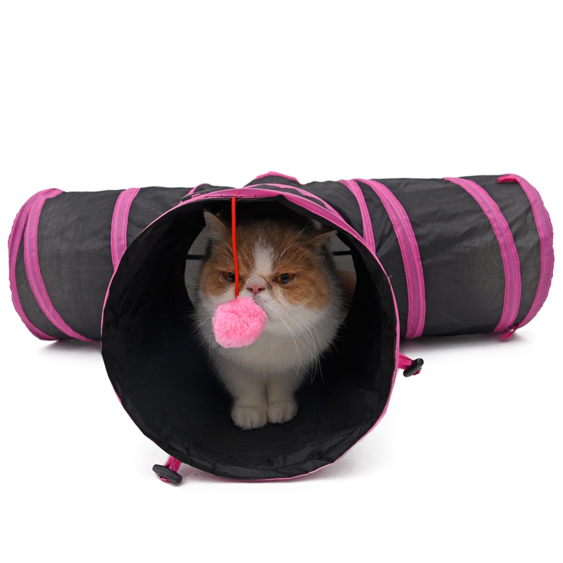 Pet Rabbit Cat Tunnel Kitten Play Toy Funny 3 WAY Foldable Puppy Rabbit Crinkle With Ball jouet ch Pet Toy Katten Speelgoed ...