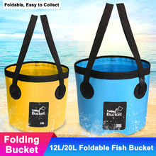 12L 20L 500D Waterproof Fishing Folding Bucket Portable Camping Foldable Bag Water Container Storage Bags Fish Tackle