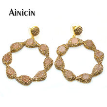 Fashion Rhinestone Crystal Paved Resin Druzy Big Circle Annulus Shape Dangle Earrings For Mother Girls Birthday Gift Jewelry