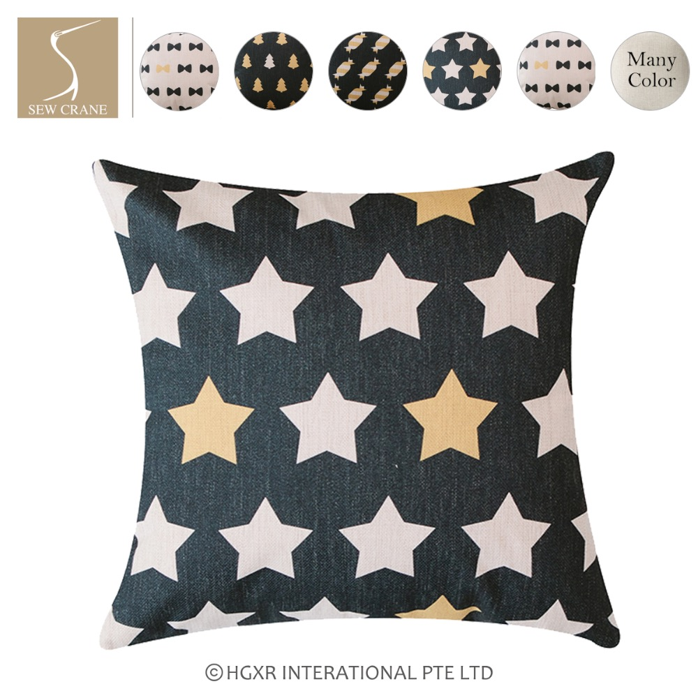 SewCrane Bow Tie Black Yellow Five-pointed Stars Wrapped Candies Tree Cotton Linen Decorative Throw Pillow Cover, 45cm x 45cm