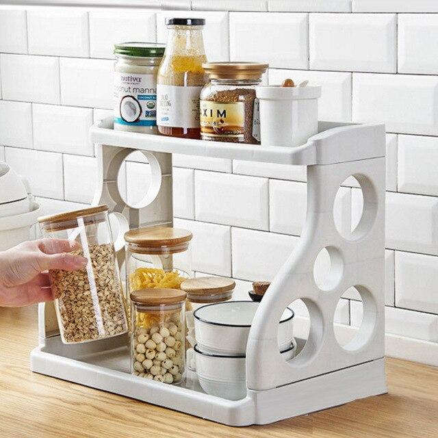 Verstelbare Keuken Spice Organisator Rack 2 Lagen Kast Kruidenrek Organizer Pittige Plank Bespaar Ruimte Opslag Houders Rekken