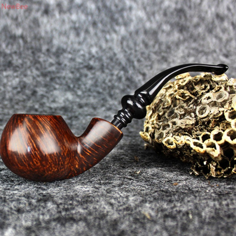 zt3 handmade briar wood tobacco pipe classic look smoking pipe for men with free type acrylic bent mouthpiece china factory sale