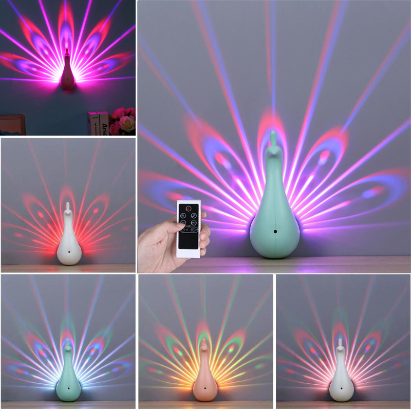 USB Rechargeable Peacock Projector Lamp for Kids Children 7 Colors Animal Wall Corridor Lights LED Baby Night Light Home Decor