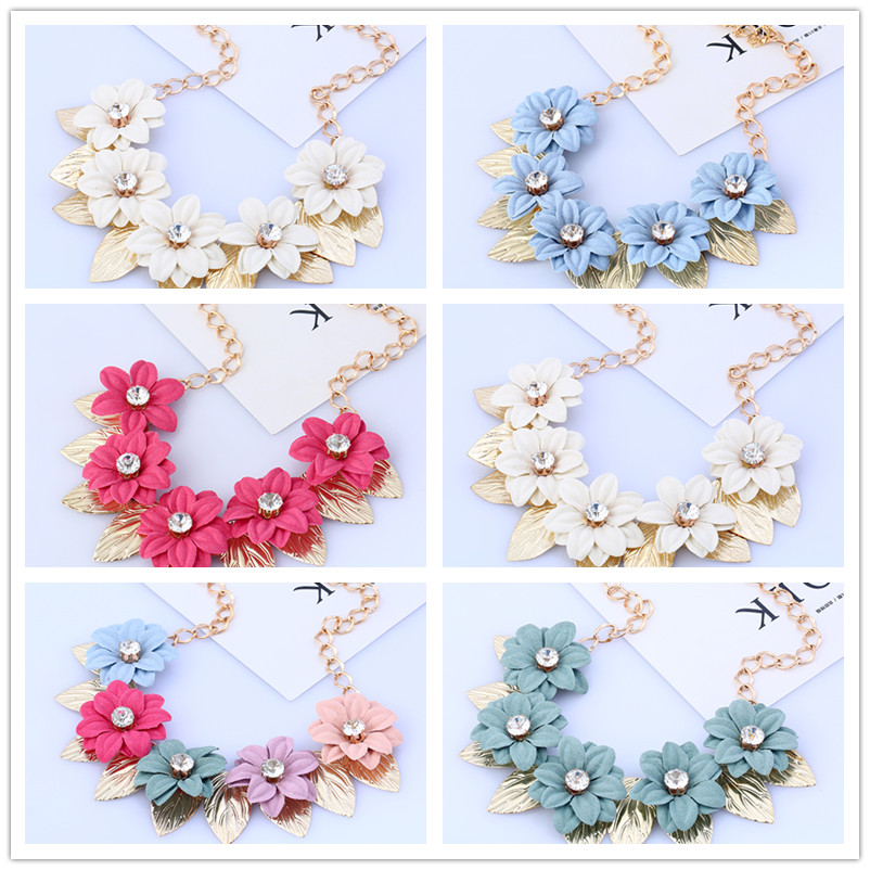YAAYOO 5 Colors Amazing Crystal Beaded Big Charms Flowers Choker Necklaces For Women KK087
