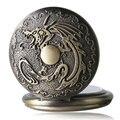 Bronze Vintage Steampunk Retro Bronze Mal Dragão de Fogo Das Mulheres Dos Homens de Quartzo Relógio de Bolso Colar de Pingente Cadeia Presente de Aniversário P111
