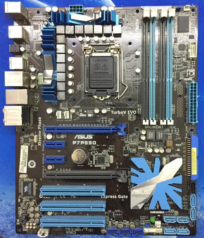 Free shipping original motherboard for ASUS P7P55D LGA 1156 DDR3 for i5 i7 cpu 16GB USB2.0 SATA2 P55 Desktop motherboard