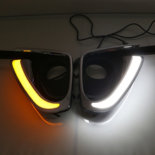 LED Daytime running light DRL fog lamp cover White/Amber Dual-Color Switchback Turn Signal Lamp For Toyota FORTUNER  2015 2016