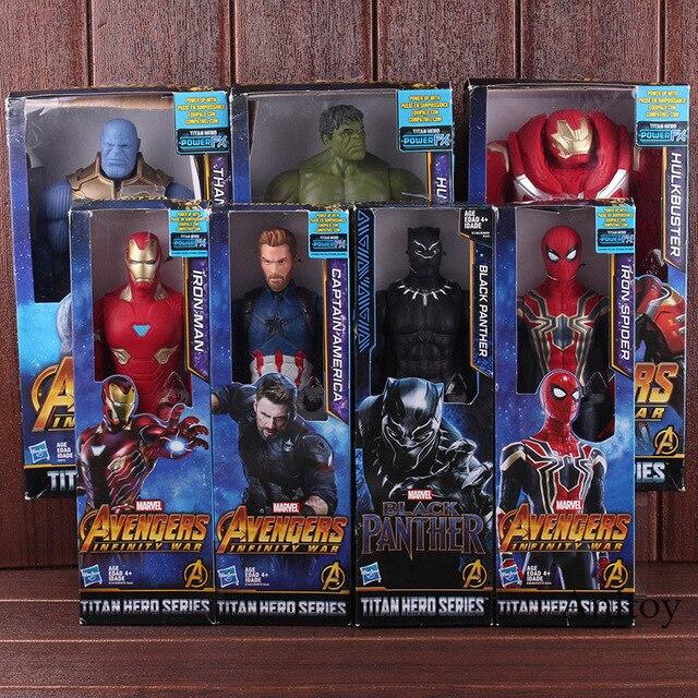 Marvel Avengers Titan Hero Series Thanos Iron Spider Captain America Iron Man Hulk Hulkbuster Black Panther Action Figure Toys