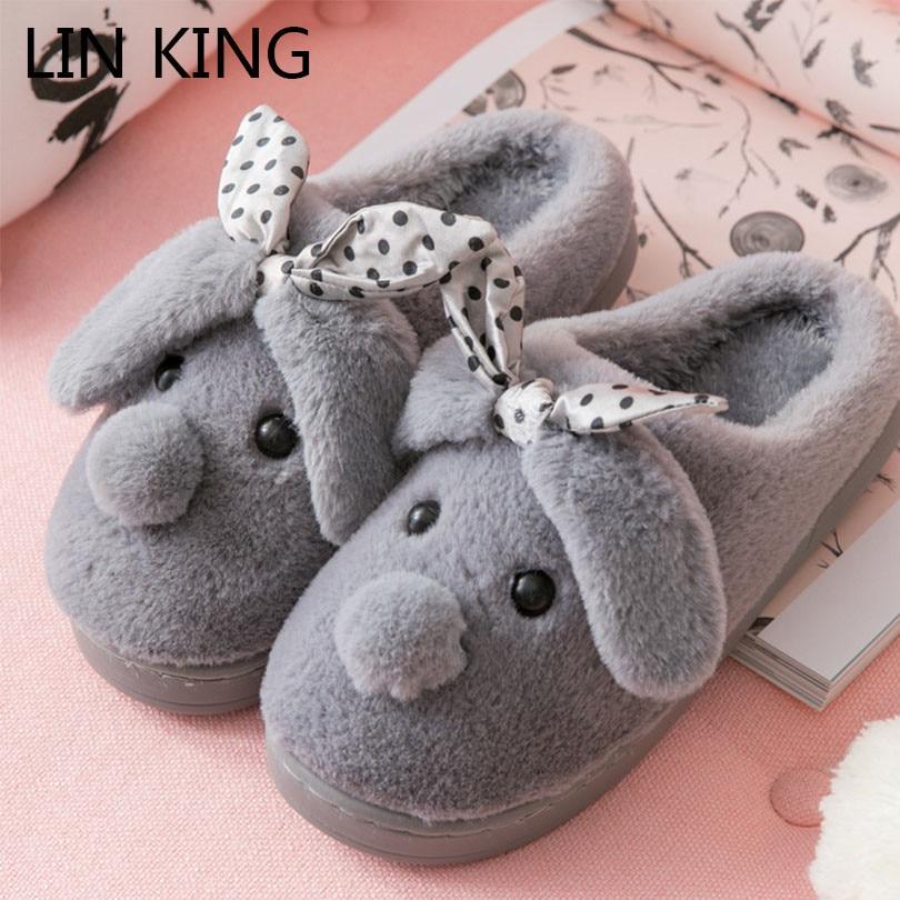 16ed99466 LIN KING/новые милые женские зимние домашние тапочки с рисунком,  нескользящая домашняя обувь, теплые меховые тапочки, мягкая хлопковая обувь,  .